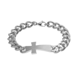 Stainless Steel Sideways Cross Bracelet - Men