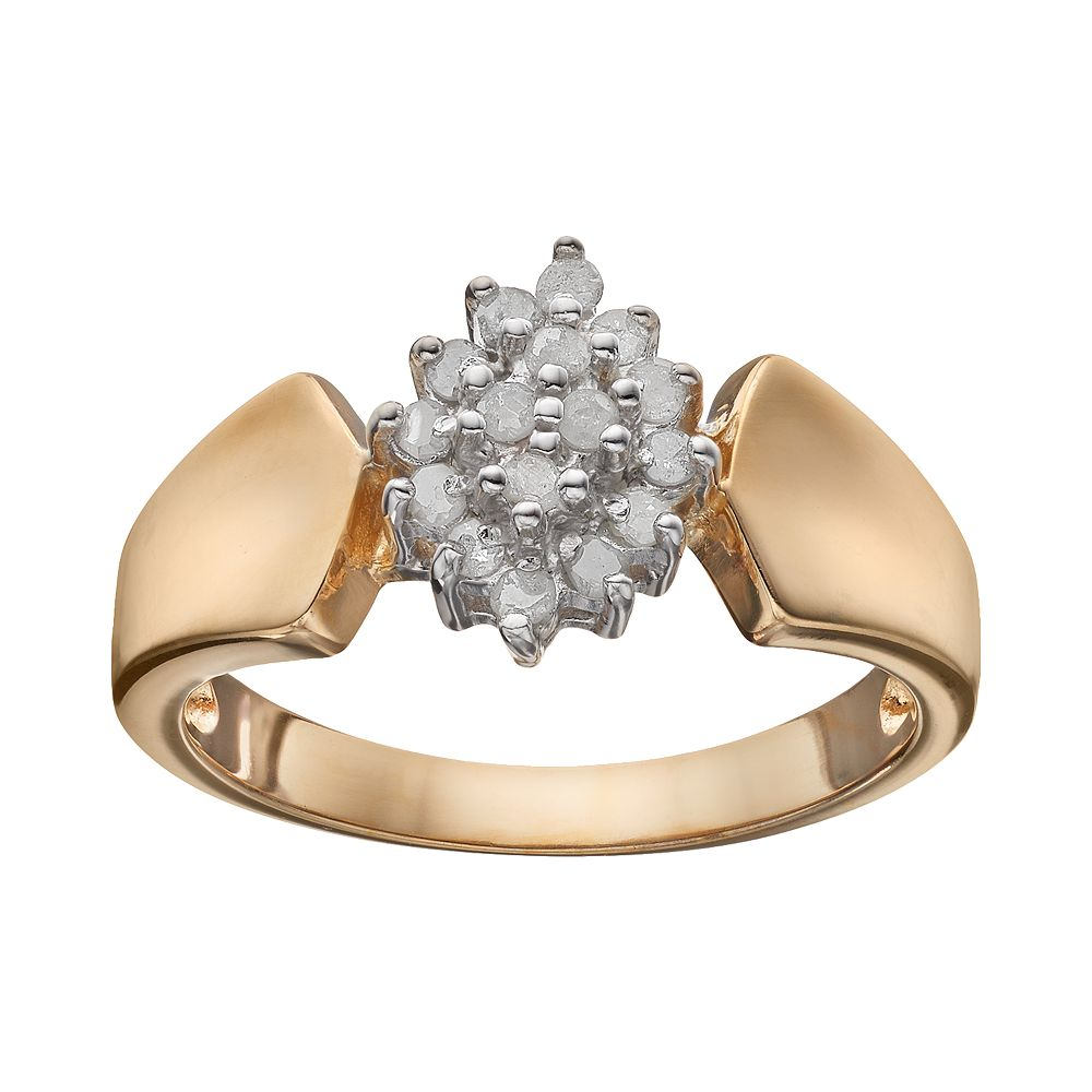 Diamond Cluster Engagement Ring in 18k Gold Over Silver (1/4 Carat T.W.)