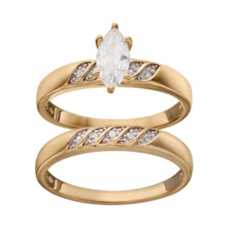 Cubic Zirconia & Diamond Accent Engagement Ring Set in 18k Gold Over Silver