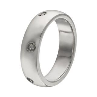 Diamond Accent Platinum Over Silver Wedding Ring