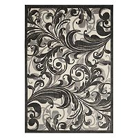 Nourison Graphic Illusions Gray Scroll Rug