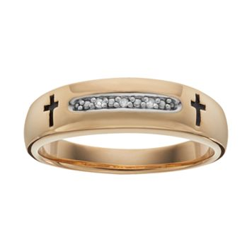 Diamond Accent 18k Gold Over Silver Cross Wedding Ring