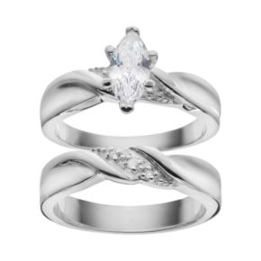 Cubic Zirconia & Diamond Accent Engagement Ring Set in Sterling Silver