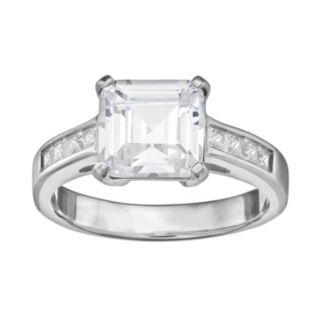Cubic Zirconia Engagement Ring in Sterling Silver