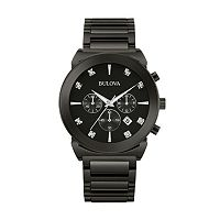 Bulova Men's Diamond Black Ion-Plated Stainless Steel Chronograph Watch - 98D123