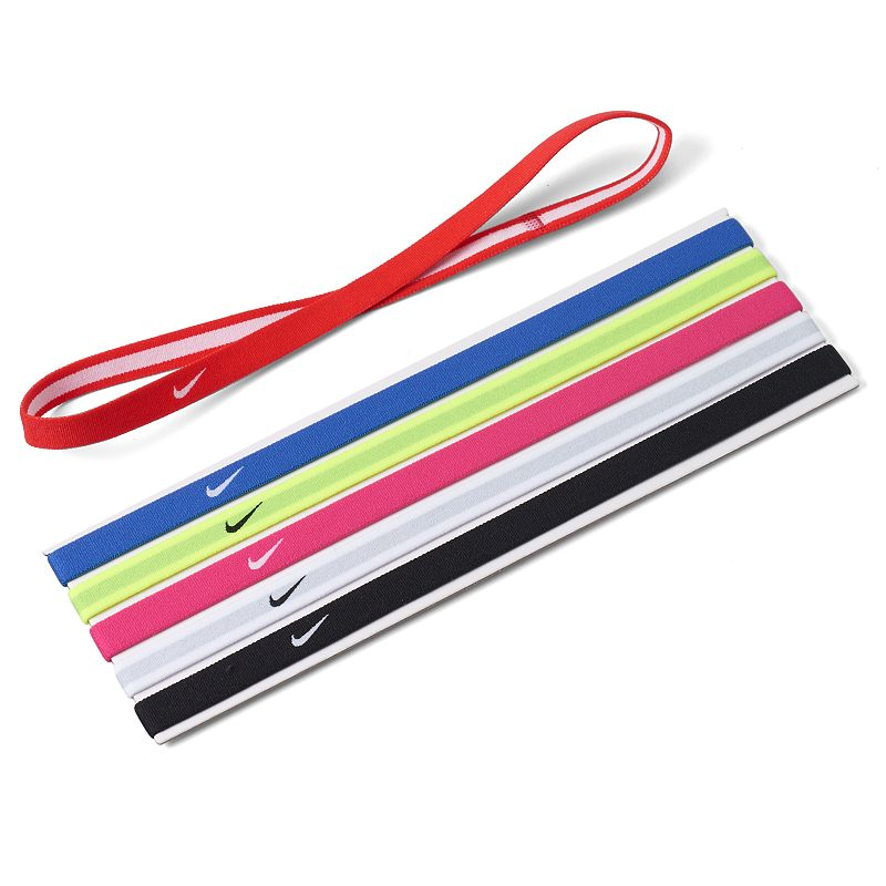 Nike 6-pk. Rainbow Headband Set, Pink Ovrfl Pick a new color each day to coordinate with your workout gear! 6-pack Rainbow colors FABRIC & CARE Polyester Machine wash Imported 0.5-in. width (each) Size: One Size. Color: Pink Ovrfl. Gender: female. Age Group: adult.
