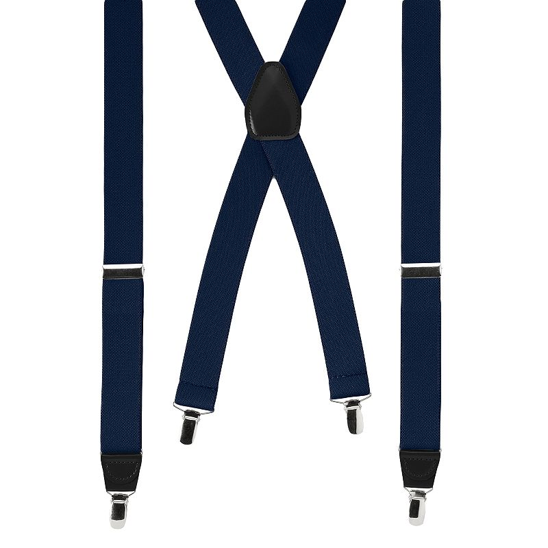 Wembley Solid Stretch Suspenders - Men, Blue Stretch your wardrobe horizons with these men's Wembley suspenders. 1.25-inches wide Grip teeth on clips Adjustable buckles Silver-tone hardware FIT & Sizing One size fits most Fabric & Care Polyester, rubber Spot clean Imported Color: Blue. Gender: Male. Age Group: Adult. Pattern: Solid. Material: Rubber/Polyester.