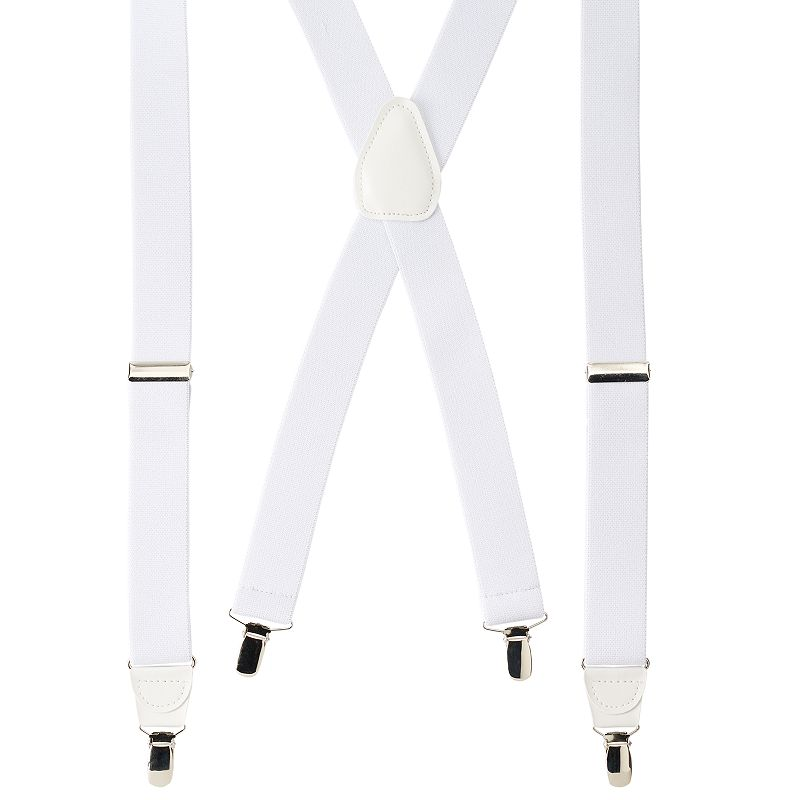 Wembley Solid Stretch Suspenders - Men, White Stretch your wardrobe horizons with these men's Wembley suspenders. 1.25-inches wide Grip teeth on clips Adjustable buckles Silver-tone hardware FIT & Sizing One size fits most Fabric & Care Polyester, rubber Spot clean Imported Color: White. Gender: Male. Age Group: Adult. Pattern: Solid. Material: Rubber/Polyester.