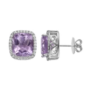 Rebecca Sloane Amethyst & Cubic Zirconia Platinum Over Silver Cushion Halo Stud Earrings