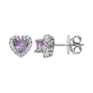 Rebecca Sloane Amethyst & Cubic Zirconia Platinum Over Silver Heart Halo Stud Earrings