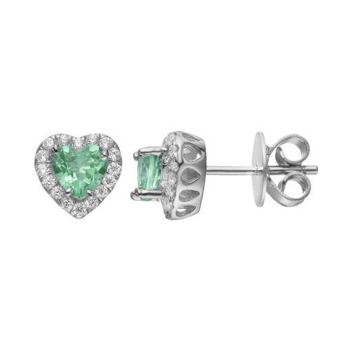 Rebecca Sloane Green Obsidian & Cubic Zirconia Platinum Over Silver Heart Halo Stud Earrings