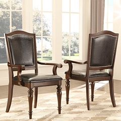 HomeVance 2 pc Hanbury Faux Leather Arm Chair Set