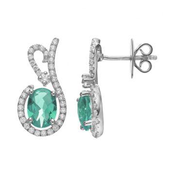 Rebecca Sloane Green Obsidian & Cubic Zirconia Platinum Over Silver Drop Earrings