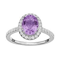 Rebecca Sloane Amethyst & Cubic Zirconia Platinum Over Silver Halo Ring