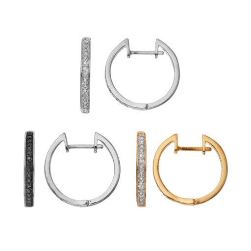1/10 Carat T.W. Black & White Diamond Silver-Plated & 14k Gold-Plated Hoop Earring Set