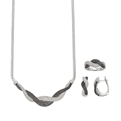 1/2 Carat T.W. Black & White Diamond Rhodium-Plated Twist Necklace, U-Hoop Earring & Ring Set