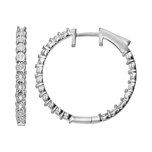 1/4 Carat T.W. Diamond Sterling Silver inside-Out Hoop Earrings
