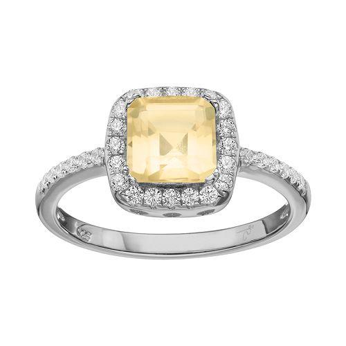 Rebecca Sloane Citrine & Cubic Zirconia Platinum Over Silver Halo Ring
