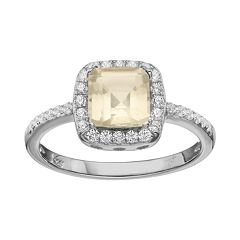Rebecca Sloane Lemon Quartz & Cubic Zirconia Platinum Over Silver Halo Ring