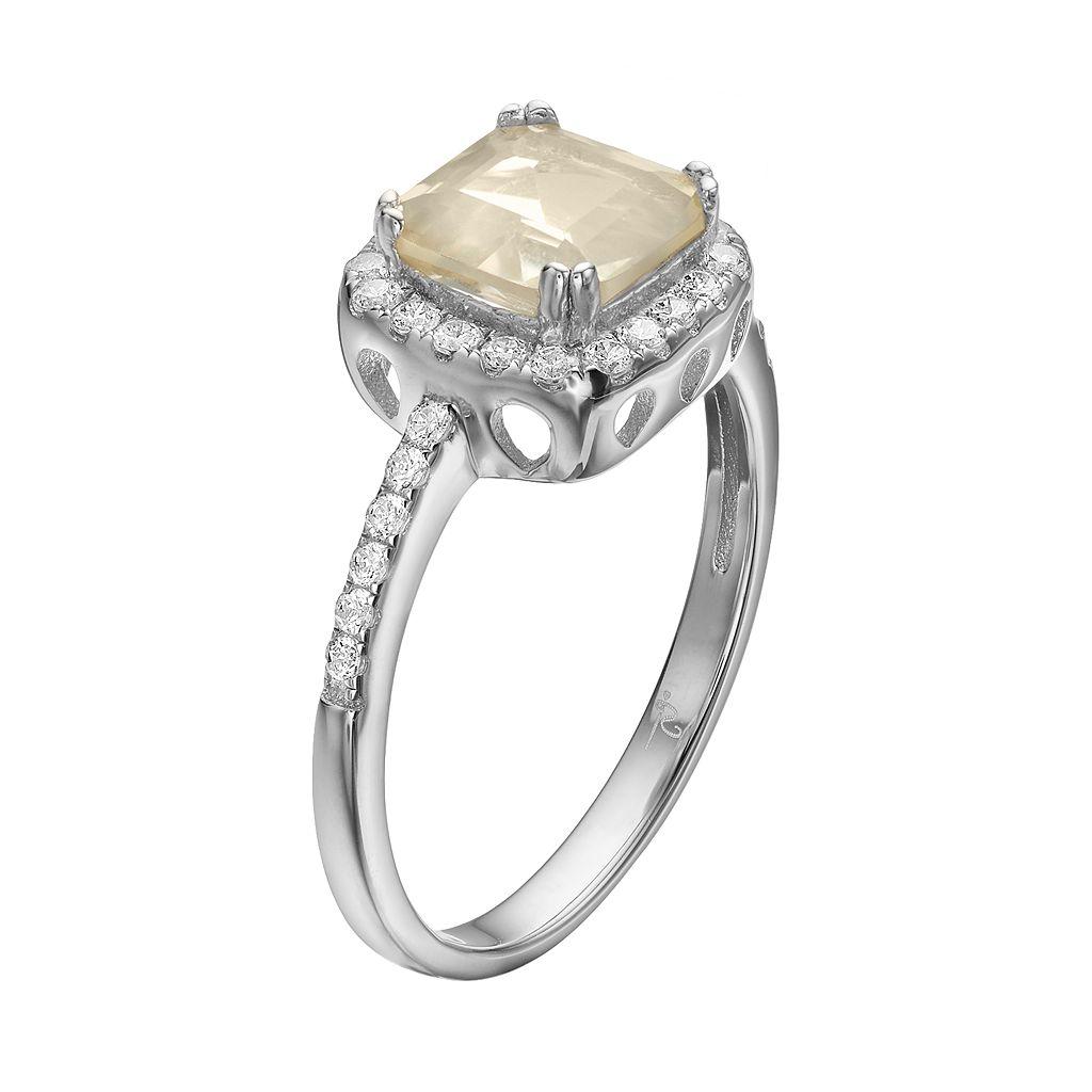 Rebecca Sloane Lemon Quartz & Cubic Zirconia Platinum Over Silver Halo Ring