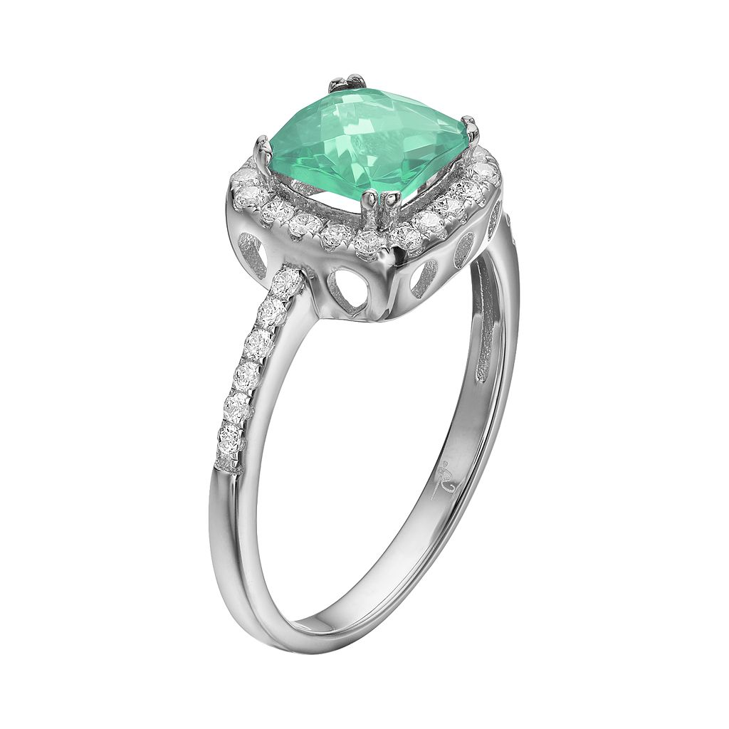 Rebecca Sloane Green Obsidian & Cubic Zirconia Platinum Over Silver Halo Ring