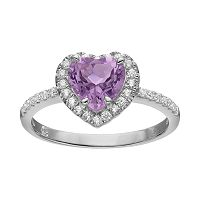 Rebecca Sloane Amethyst & Cubic Zirconia Platinum Over Silver Heart Halo Ring