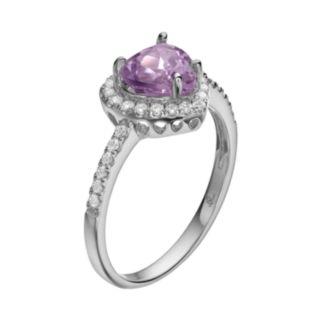 Rebecca Sloane Amethyst & Cubic Zirconia Platinum Over Silver Heart Halo Ring