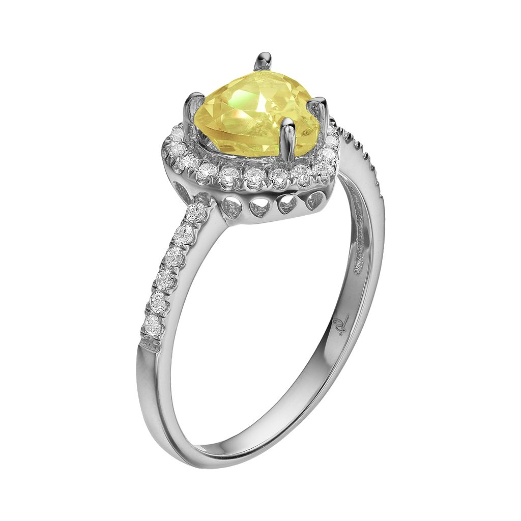 Rebecca Sloane Citrine & Cubic Zirconia Platinum Over Silver Heart Halo Ring