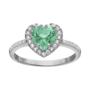 Rebecca Sloane Green Obsidian & Cubic Zirconia Platinum Over Silver Heart Halo Ring