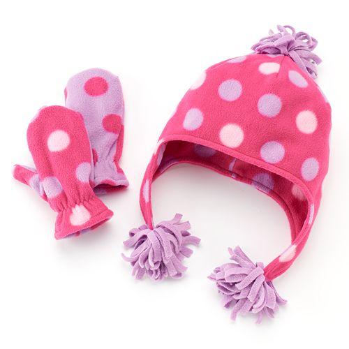 Jumping Beans® Fleece Hat   Mittens Set - Baby Girl 2287a736024