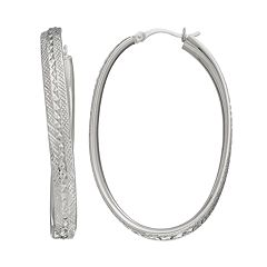 AMORE by SIMONE I. SMITH Platinum Over Silver Textured Oval Hoop Earrings