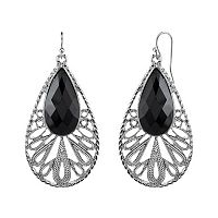 1928 Black Teardrop Earrings