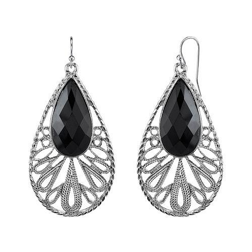 1928 Black Teardrop Earrings