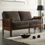 HomeVance Ryder Brown Microfiber Loveseat