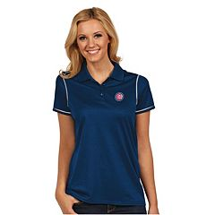 Women's Antigua Chicago Cubs Icon Desert-Dry Tonal-Striped Performance Polo