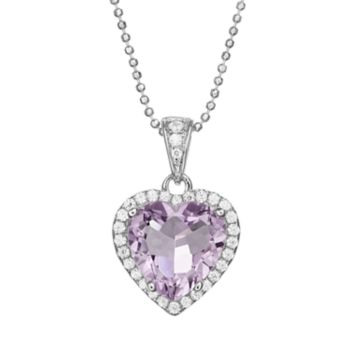 Rebecca Sloane Amethyst & Cubic Zirconia Platinum Over Silver Heart Halo Pendant Necklace