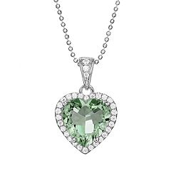 Rebecca Sloane Green Obsidian & Cubic Zirconia Platinum Over Silver Heart Halo Pendant Necklace