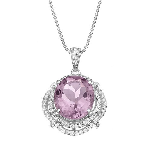 Rebecca Sloane Amethyst & Cubic Zirconia Platinum Over Silver Halo Pendant Necklace