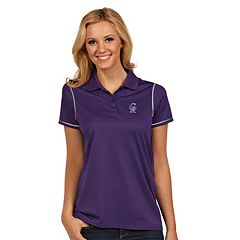 Women's Antigua Colorado Rockies Icon Desert-Dry Tonal-Striped Performance Polo