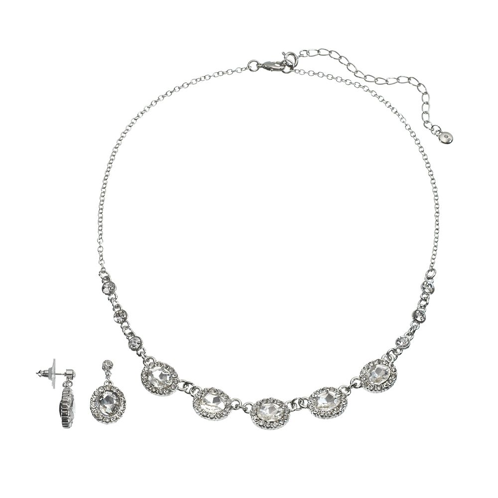 Oval Necklace & Drop Earring Set