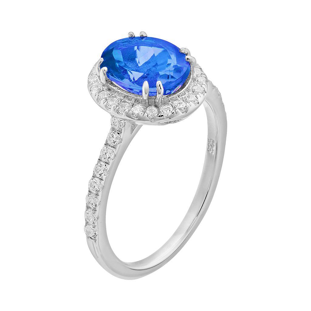 Rebecca Sloane Blue Obsidian & Cubic Zirconia Platinum Over Silver Halo Ring