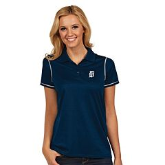 Women's Antigua Detroit Tigers Icon Desert-Dry Tonal-Striped Performance Polo