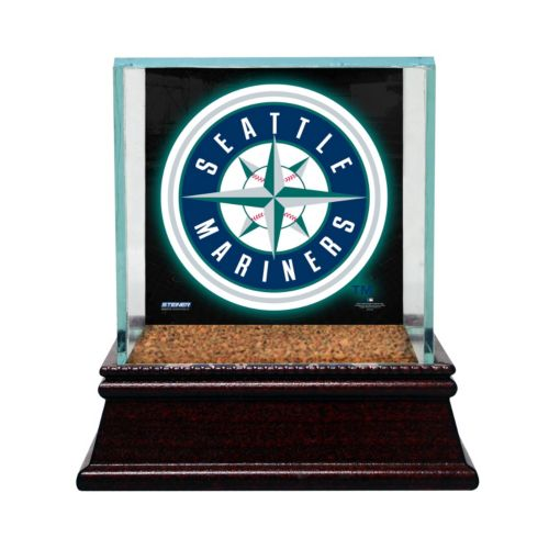 Steiner Sports Glass Single Baseball Display Case with Seattle Mariners Logo Background and Authentic Field Dirt