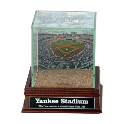Steiner Sports Glass Single Baseball Display Case with New York Yankees Stadium Background and Authentic Field Dirt