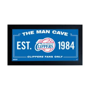 "Steiner Sports Los Angeles Clippers Framed 10"" x 20"" Man Cave Sign"