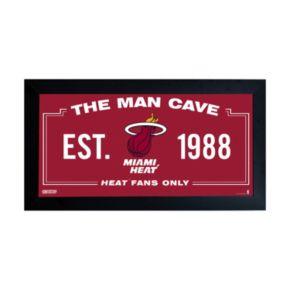 """Steiner Sports Miami Heat Framed 10"""" x 20"""" Man Cave Sign"""