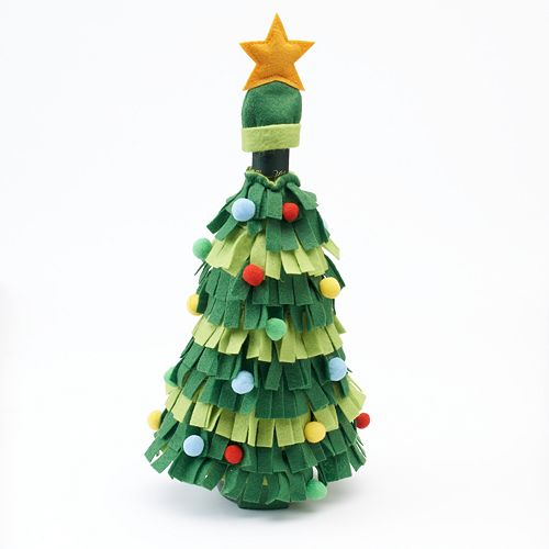 food network christmas tree wine bottle cover