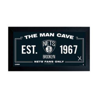 "Steiner Sports Brooklyn Nets Framed 10"" x 20"" Man Cave Sign"