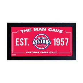 "Steiner Sports Detroit Pistons Framed 10"" x 20"" Man Cave Sign"