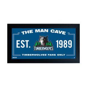 "Steiner Sports Minnesota Timberwolves Framed 10"" x 20"" Man Cave Sign"